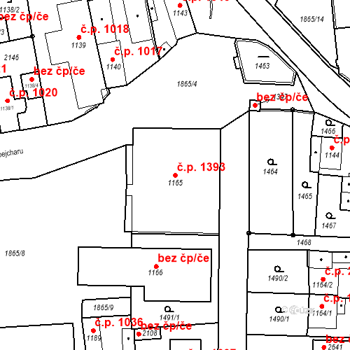 Katastrální mapa Stavební objekt Brandýs nad Labem 1393, Brandýs nad Labem-Stará Boleslav