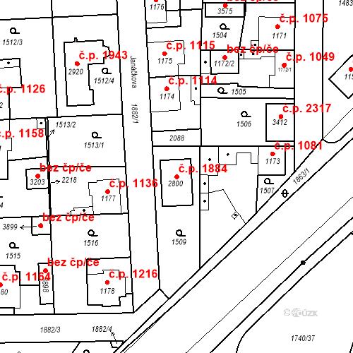 Katastrální mapa Stavební objekt Brandýs nad Labem 1884, Brandýs nad Labem-Stará Boleslav