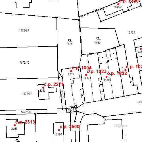 Katastrální mapa Stavební objekt Brandýs nad Labem 1004, Brandýs nad Labem-Stará Boleslav