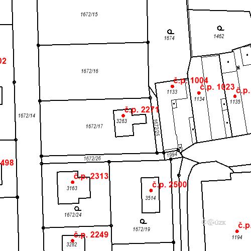 Katastrální mapa Stavební objekt Brandýs nad Labem 2271, Brandýs nad Labem-Stará Boleslav