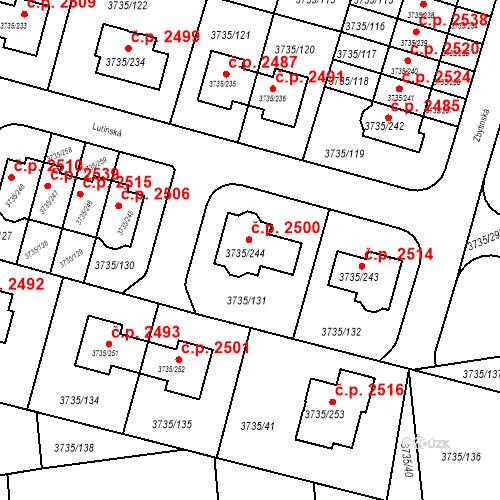 Katastrální mapa Stavební objekt Újezd nad Lesy 2500, Praha