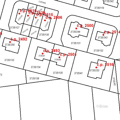 Katastrální mapa Stavební objekt Újezd nad Lesy 2501, Praha