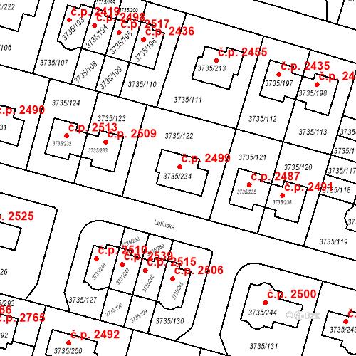 Katastrální mapa Stavební objekt Újezd nad Lesy 2499, Praha