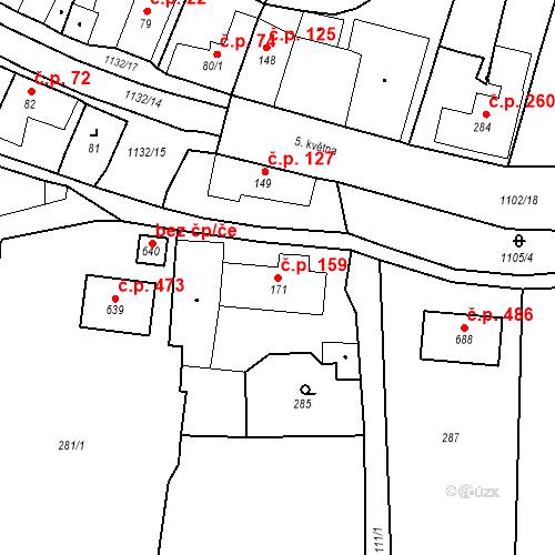 Katastrální mapa Stavební objekt Byšice 159, Byšice