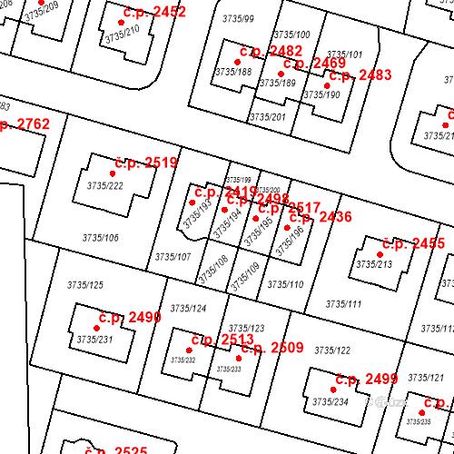 Katastrální mapa Stavební objekt Újezd nad Lesy 2498, Praha