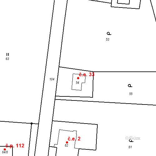 Katastrální mapa Stavební objekt Krásné Pole 33, Chřibská
