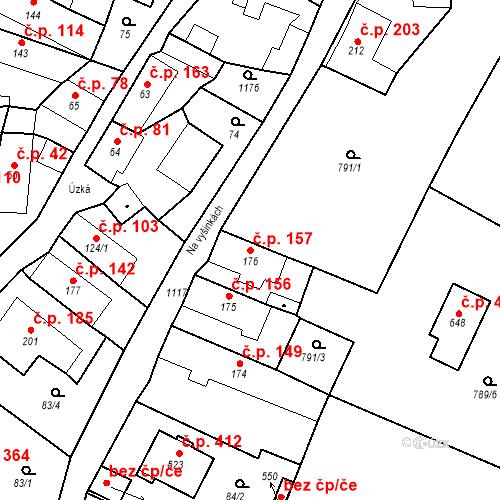 Katastrální mapa Stavební objekt Byšice 157, Byšice
