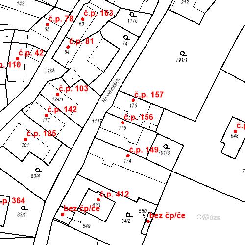 Katastrální mapa Stavební objekt Byšice 156, Byšice