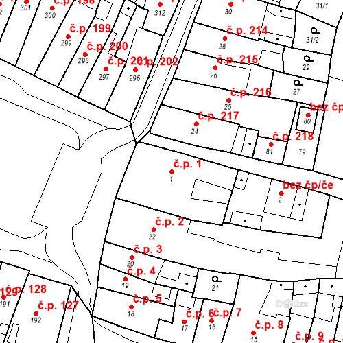 Katastrální mapa Stavební objekt Česká Lípa 1, Česká Lípa