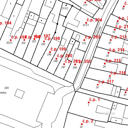 Katastrální mapa Stavební objekt Česká Lípa 201, Česká Lípa