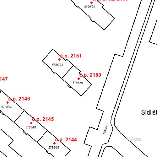 Katastrální mapa Stavební objekt Česká Lípa 2150, Česká Lípa