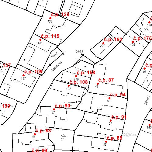 Katastrální mapa Stavební objekt Byšice 158, Byšice