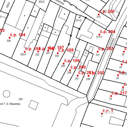 Katastrální mapa Stavební objekt Česká Lípa 199, Česká Lípa