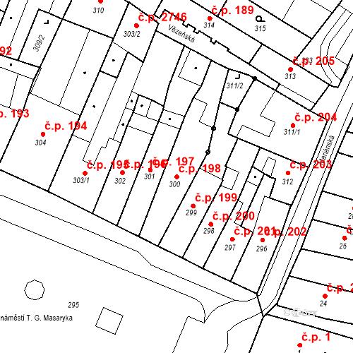 Katastrální mapa Stavební objekt Česká Lípa 198, Česká Lípa