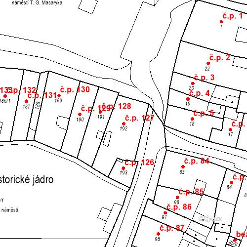 Katastrální mapa Stavební objekt Česká Lípa 127, Česká Lípa