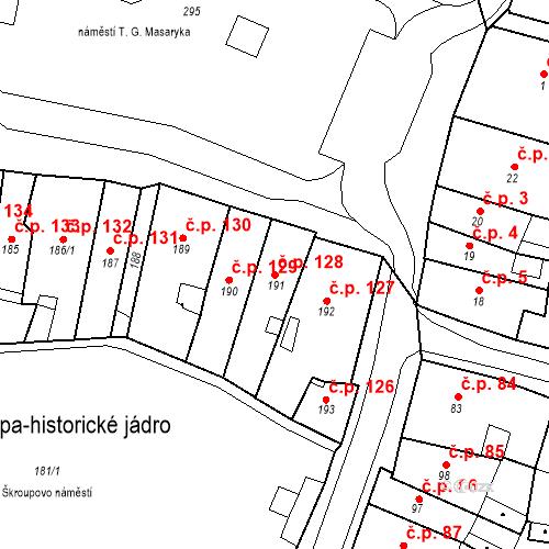 Katastrální mapa Stavební objekt Česká Lípa 128, Česká Lípa