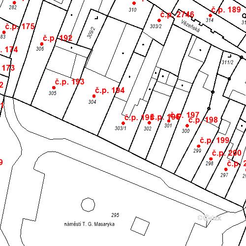 Katastrální mapa Stavební objekt Česká Lípa 195, Česká Lípa