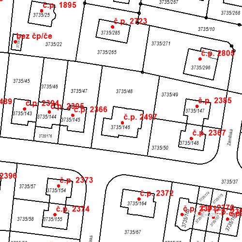 Katastrální mapa Stavební objekt Újezd nad Lesy 2497, Praha
