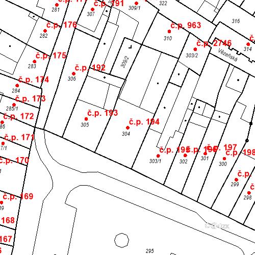 Katastrální mapa Stavební objekt Česká Lípa 194, Česká Lípa