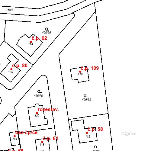 Katastrální mapa Stavební objekt Pětihosty 109, Pětihosty