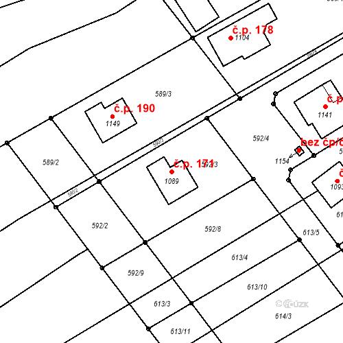 Katastrální mapa Stavební objekt Čtyřkoly 171, Čtyřkoly