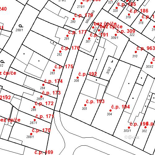 Katastrální mapa Stavební objekt Česká Lípa 192, Česká Lípa