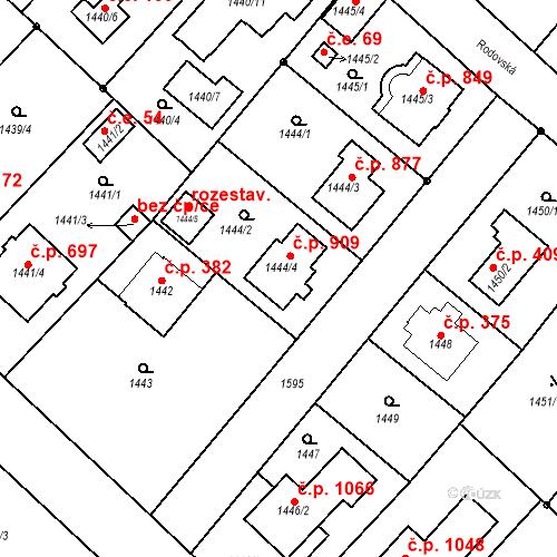 Katastrální mapa Stavební objekt Klánovice 909, Praha