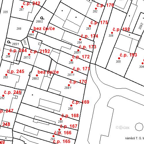 Katastrální mapa Stavební objekt Česká Lípa 171, Česká Lípa