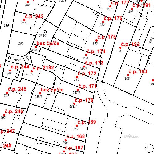 Katastrální mapa Stavební objekt Česká Lípa 172, Česká Lípa