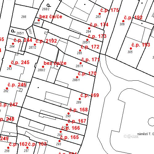 Katastrální mapa Stavební objekt Česká Lípa 170, Česká Lípa