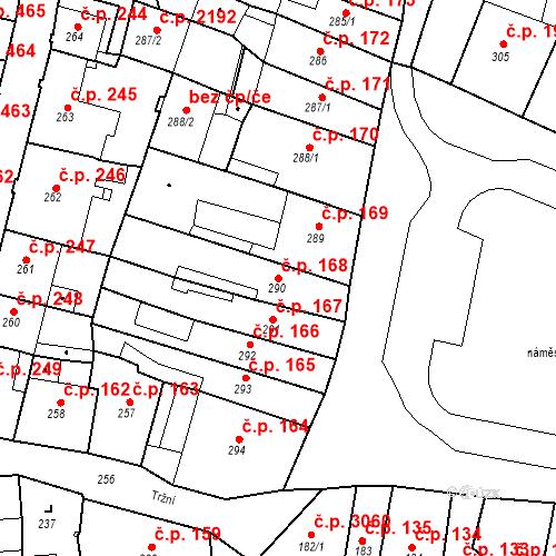 Katastrální mapa Stavební objekt Česká Lípa 168, Česká Lípa