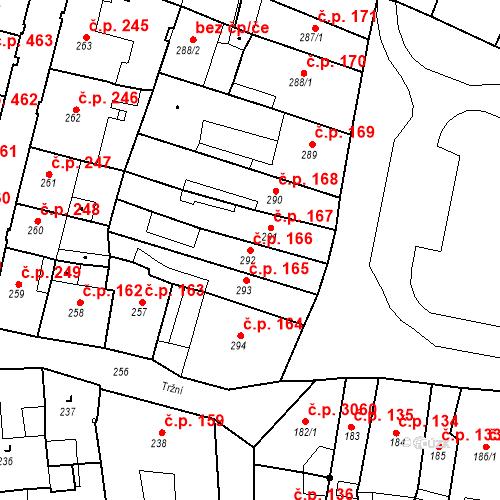 Katastrální mapa Stavební objekt Česká Lípa 166, Česká Lípa