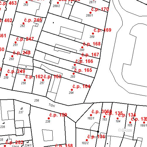 Katastrální mapa Stavební objekt Česká Lípa 165, Česká Lípa