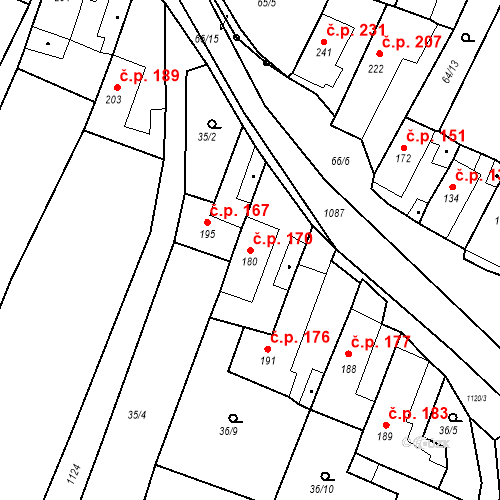 Katastrální mapa Stavební objekt Byšice 170, Byšice