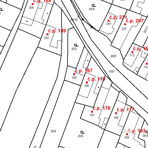 Katastrální mapa Stavební objekt Byšice 167, Byšice