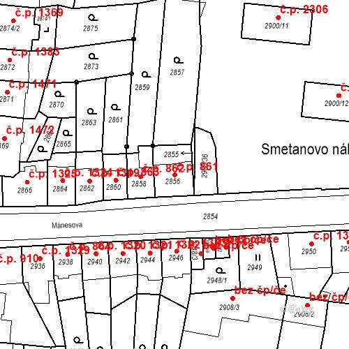 Katastrální mapa Stavební objekt Česká Lípa 861, Česká Lípa