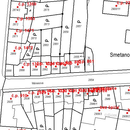 Katastrální mapa Stavební objekt Česká Lípa 862, Česká Lípa
