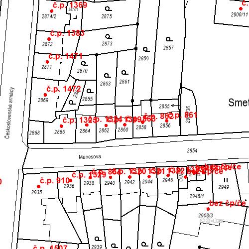 Katastrální mapa Stavební objekt Česká Lípa 863, Česká Lípa