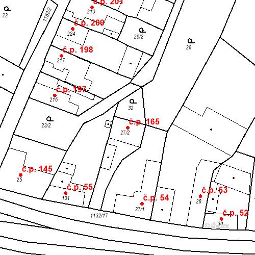 Katastrální mapa Stavební objekt Byšice 165, Byšice