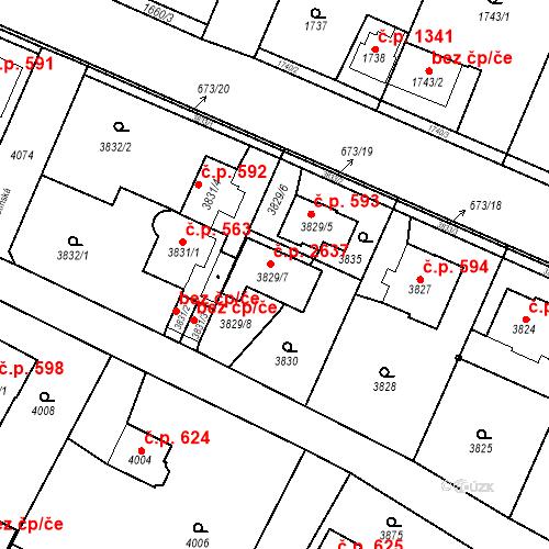 Katastrální mapa Stavební objekt Újezd nad Lesy 2637, Praha