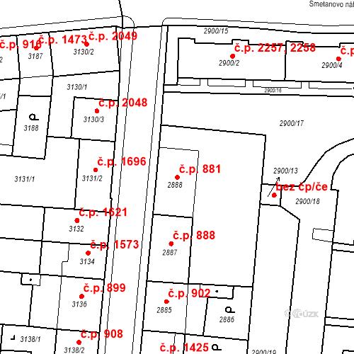 Katastrální mapa Stavební objekt Česká Lípa 881, Česká Lípa