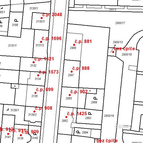 Katastrální mapa Stavební objekt Česká Lípa 888, Česká Lípa
