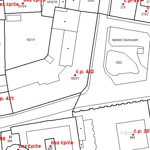Katastrální mapa Stavební objekt Česká Lípa 422, Česká Lípa