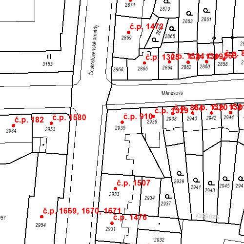 Katastrální mapa Stavební objekt Česká Lípa 910, Česká Lípa