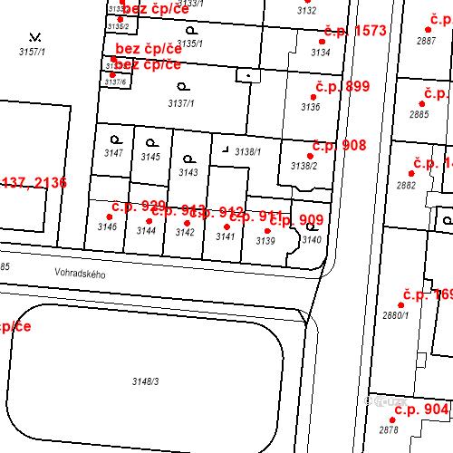 Katastrální mapa Stavební objekt Česká Lípa 911, Česká Lípa