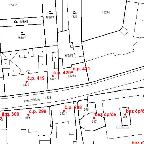 Katastrální mapa Stavební objekt Česká Lípa 421, Česká Lípa