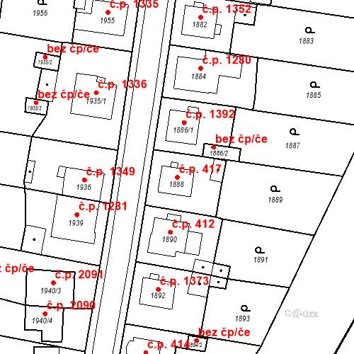 Katastrální mapa Stavební objekt Česká Lípa 417, Česká Lípa
