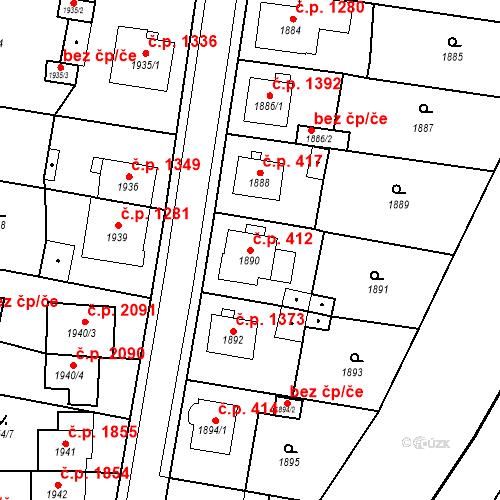 Katastrální mapa Stavební objekt Česká Lípa 412, Česká Lípa