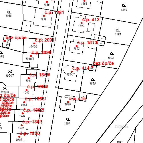 Katastrální mapa Stavební objekt Česká Lípa 414, Česká Lípa