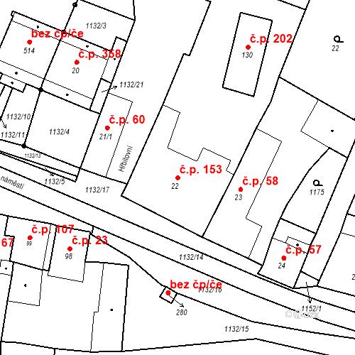 Katastrální mapa Stavební objekt Byšice 153, Byšice